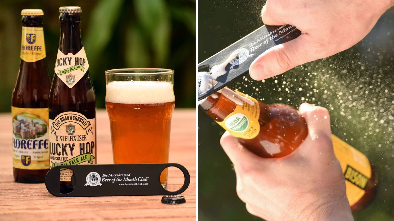 Two images featuring beer of the month club subscription, which various bottles of beers to try.
