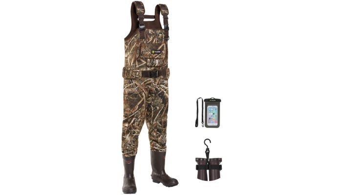 A pair of neoprene fishing waders that feature a woodsy camouflage display from its shoulder straps down to its calves, where black rubber boots complete the look.