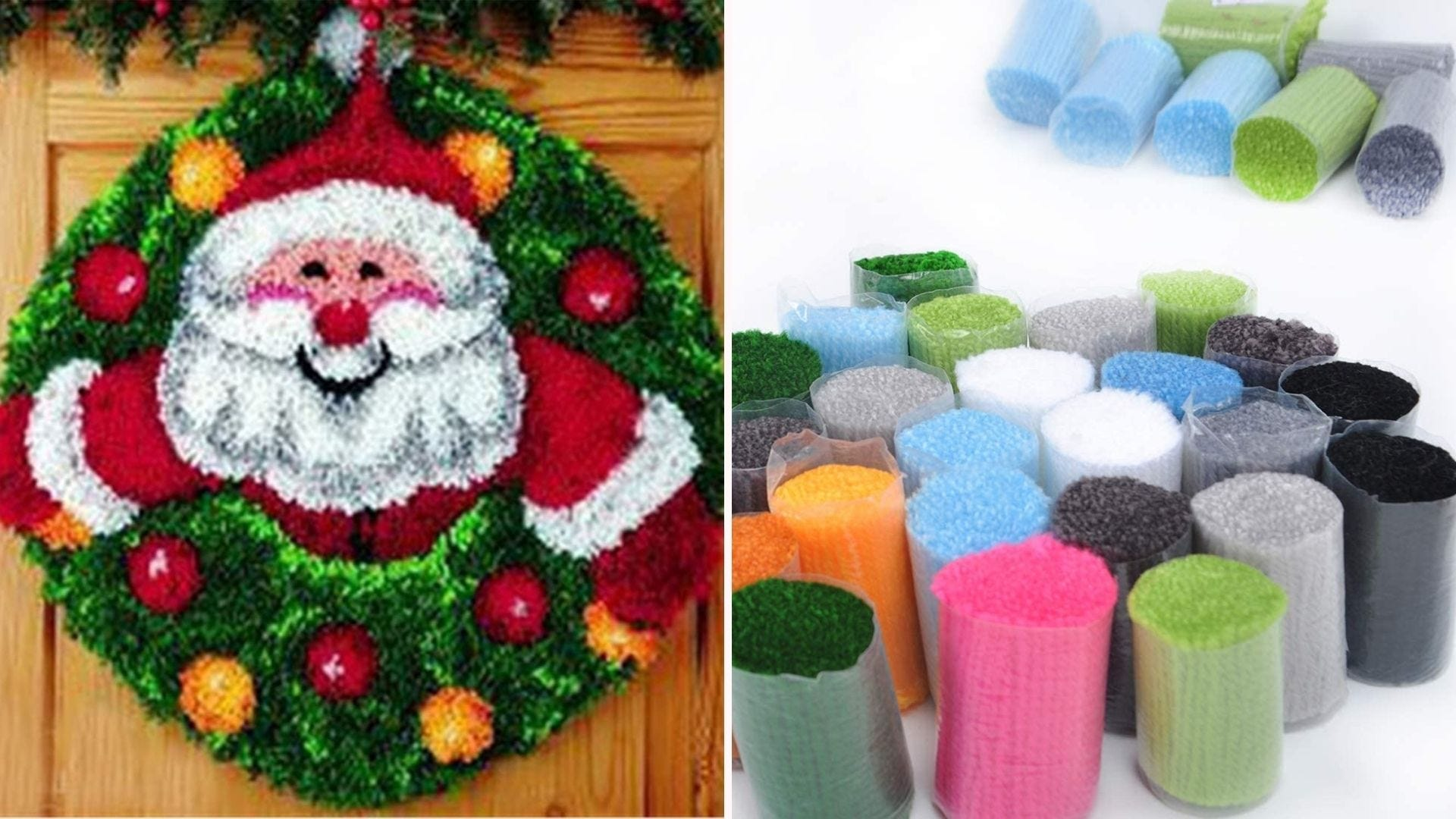 a Santa-printed decorative yarn piece hanging from a door with yarn pieces bundled on the side