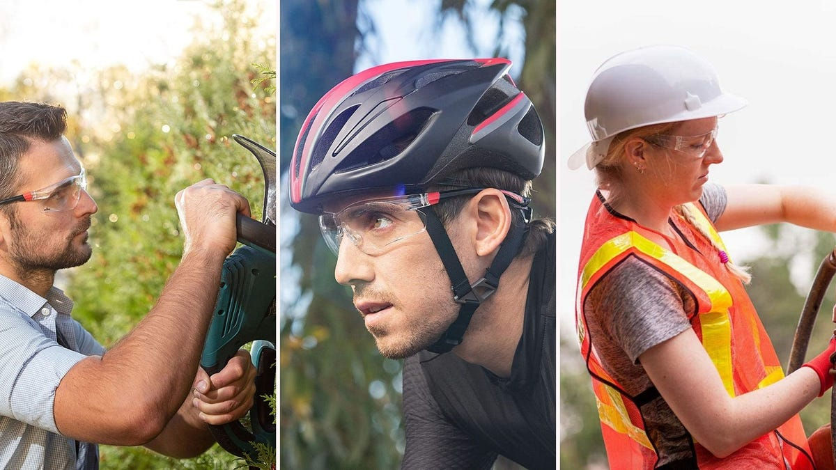 three people wearing safety glasses doing various things. One man trims a hedge, one man rides a bike, and a woman works in construction gear.