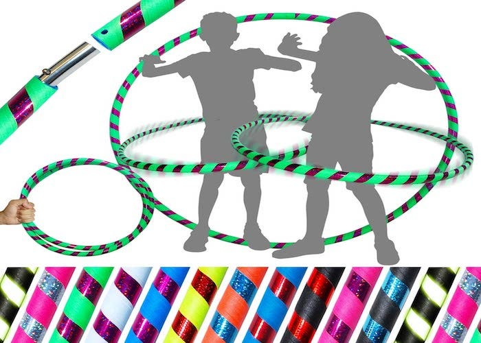 silhouette of two children hula hooping with two striped, multicolored hula hoops with other color options displayed below