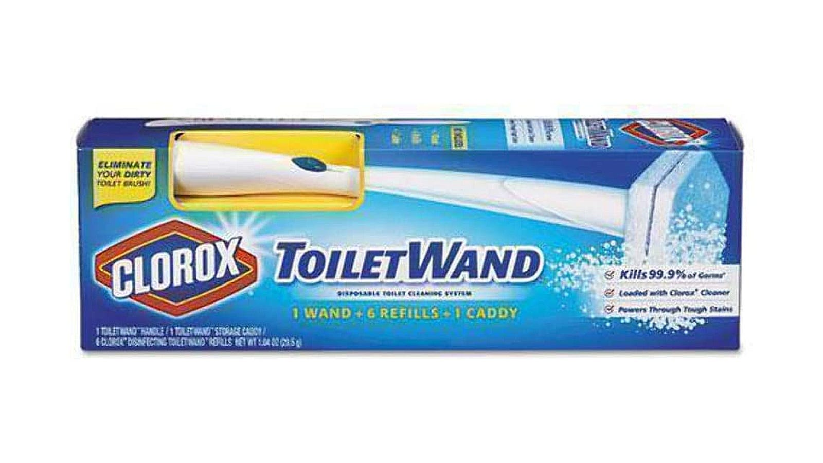 The blue packaging of the Clorox ToiletWand.
