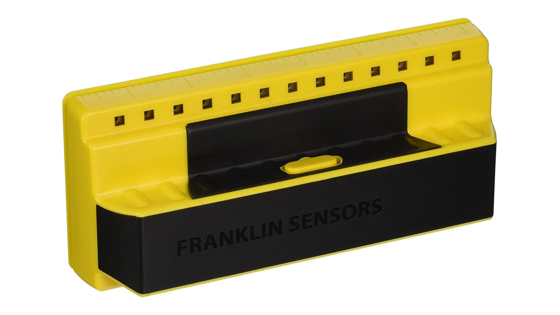 A black and yellow, 7-inch stud finder that features a scan-trigger just above its base, and 13 sensors located along the top of its frame.