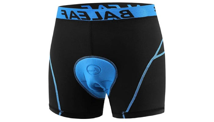 A black and blue pair of polyester boxer briefs with a padded seat-region and a 4.7-inch inseam.