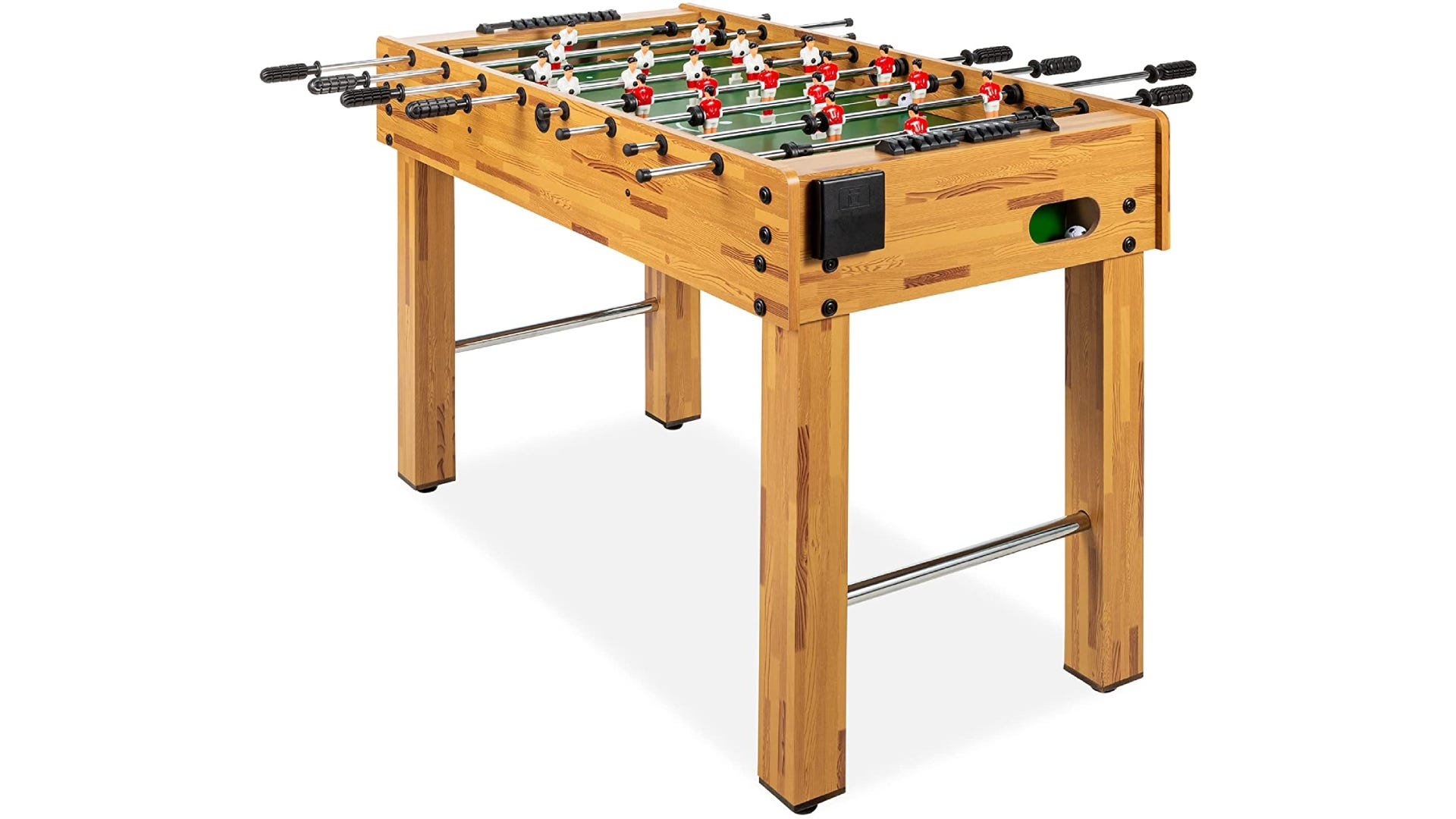 light-colored wooden foosball with red and white players