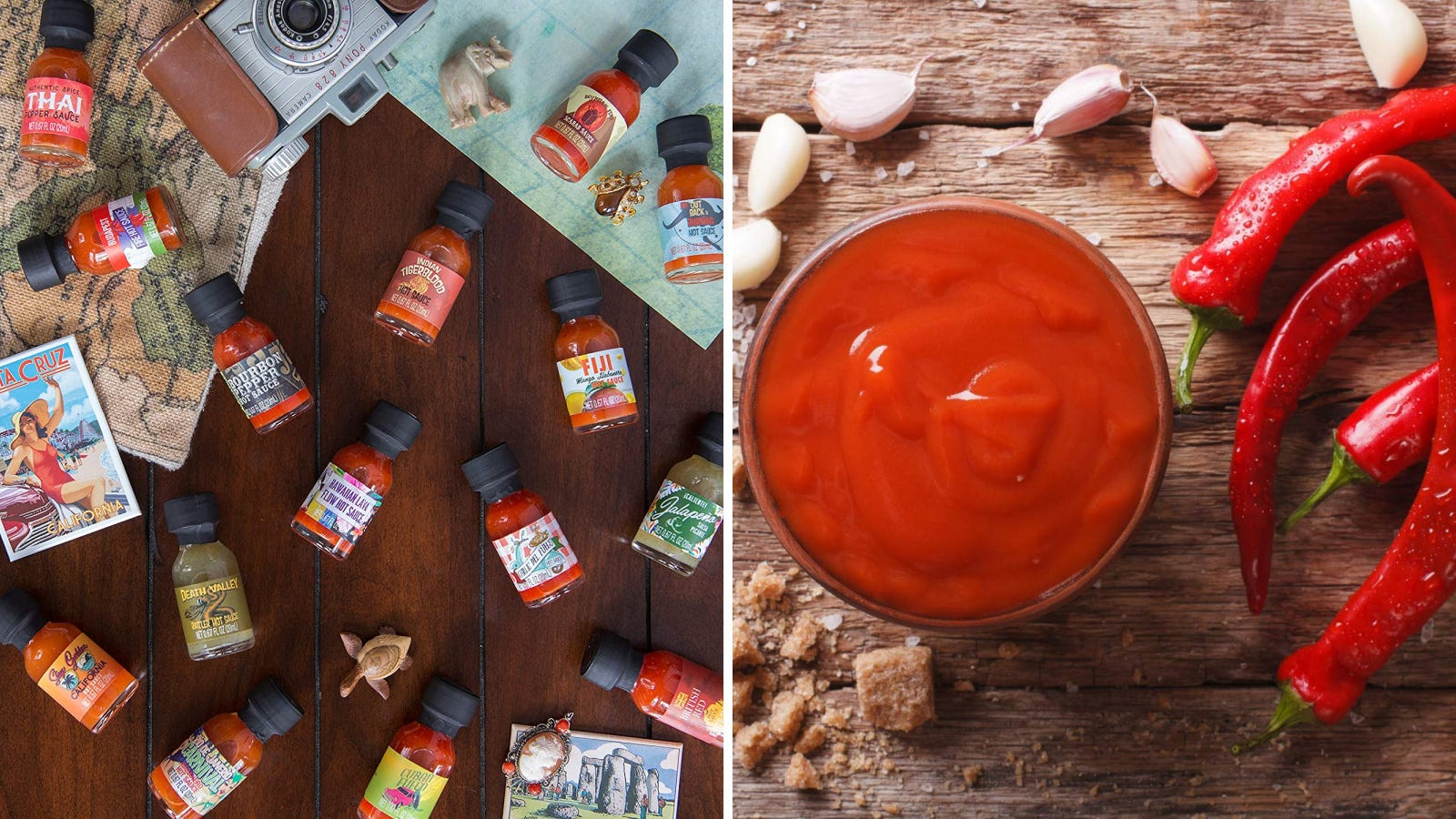 Two images featuring Thoughtfully gifts hot sauce sampler from around the world.