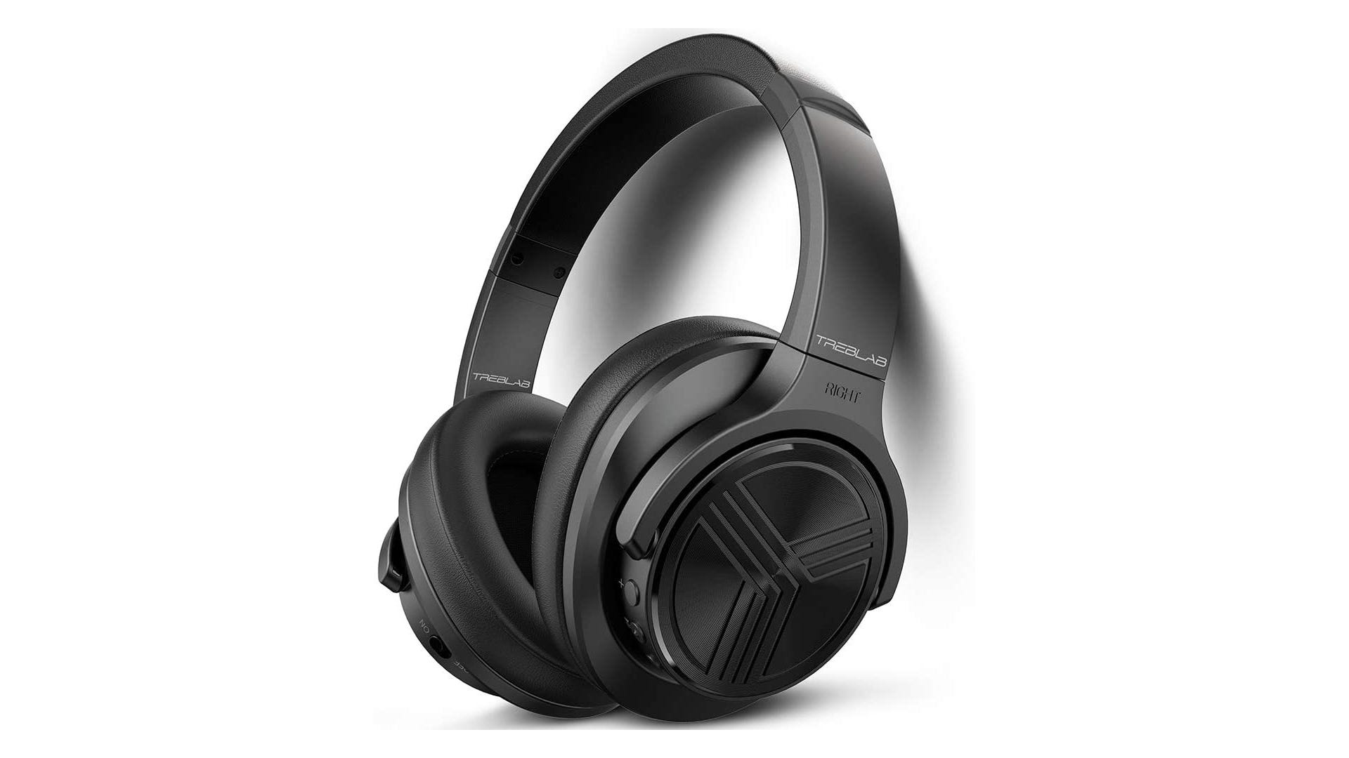 Black noise-canceling over-ear Bluetooth headphones with comfortable sporty design