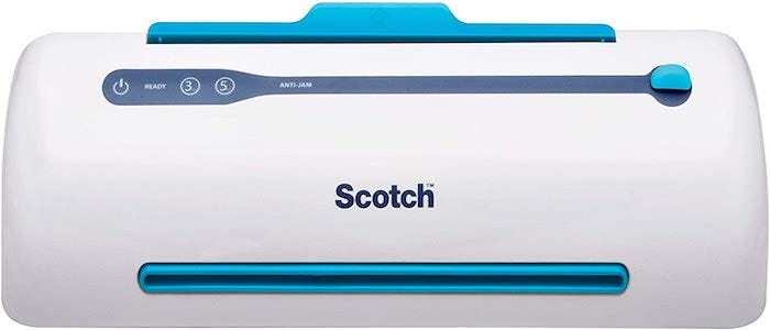 white and blue laminator with rounded ends