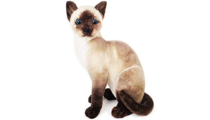 A stuffed Siamese cat sits against a white background.