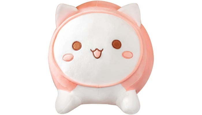A pink plush anime cat pillow is displayed against a white background.