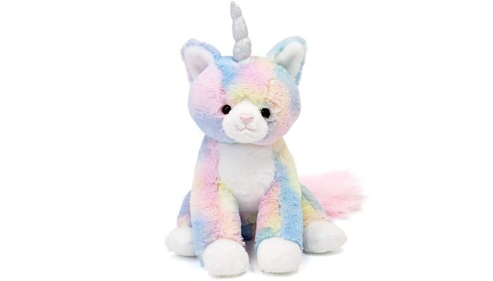 A pastel rainbow colored Caticorn is displayed against a white background.