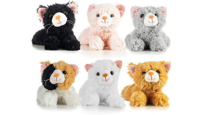 Six different cat stuffed animals are displayed against a white background in two rows.