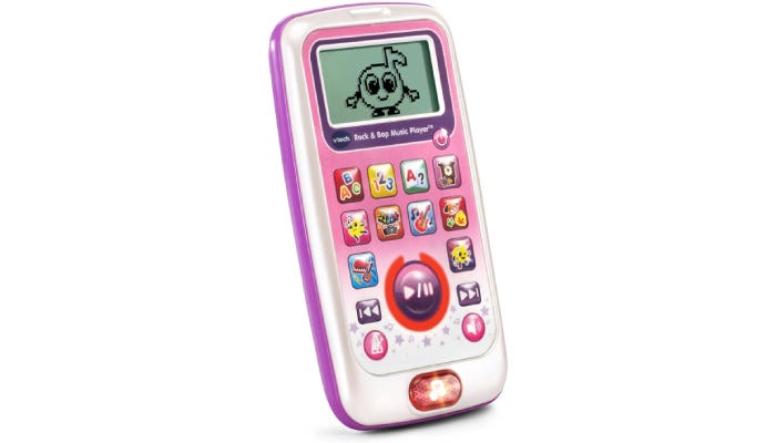 A pink music player with many buttons and a character displayed on the screen.