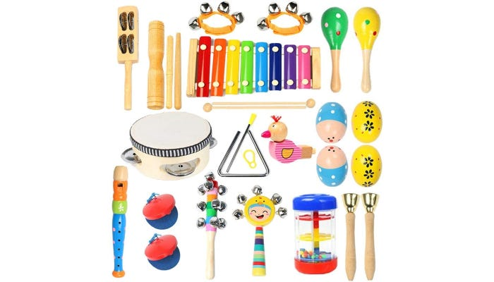 A set of 22 colorful wooden instruments.