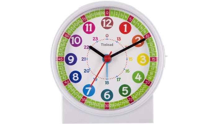 Brightly colored analog clock, outer rim is green, minutes and hours are color-coded