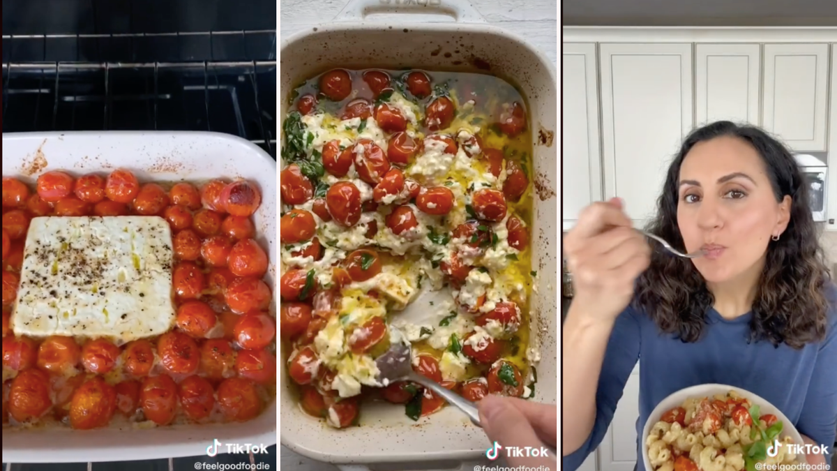 Grape tomatoes in a baking dish, grape tomatoes mixed with feta and pasta in a baking dish, and a woman eating the feta pasta..