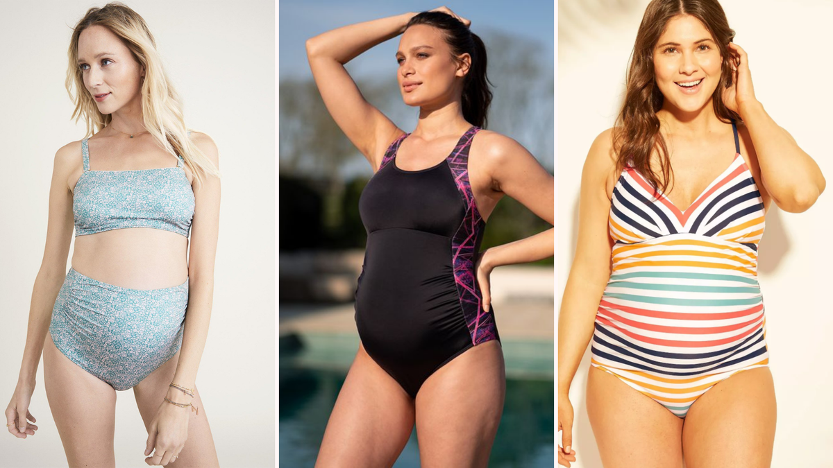 a blonde girl wearing a blue floral maternity bikini/a brunette girl wearing a black and pink one piece/a brunette girl wearing a rainbow striped maternity one piece