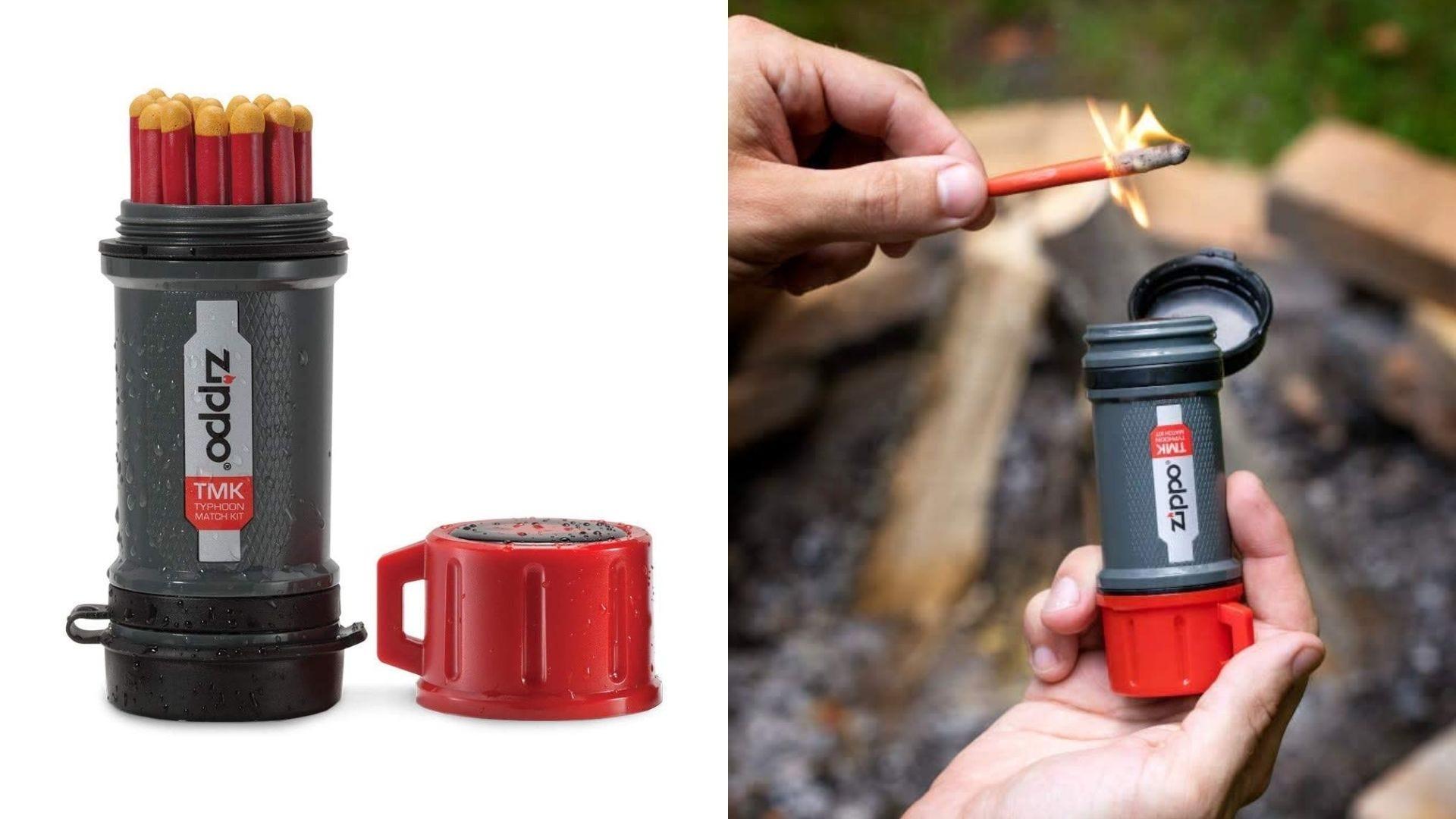 A waterproof match kit and someone lights a match