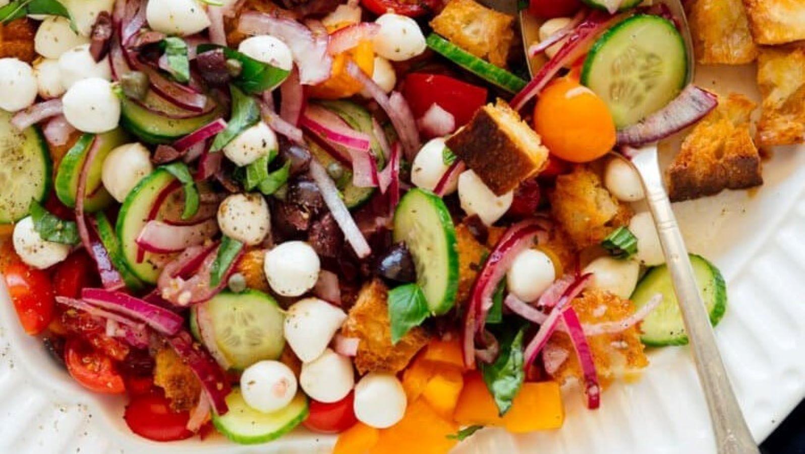 A plate full of Panzanella salad.