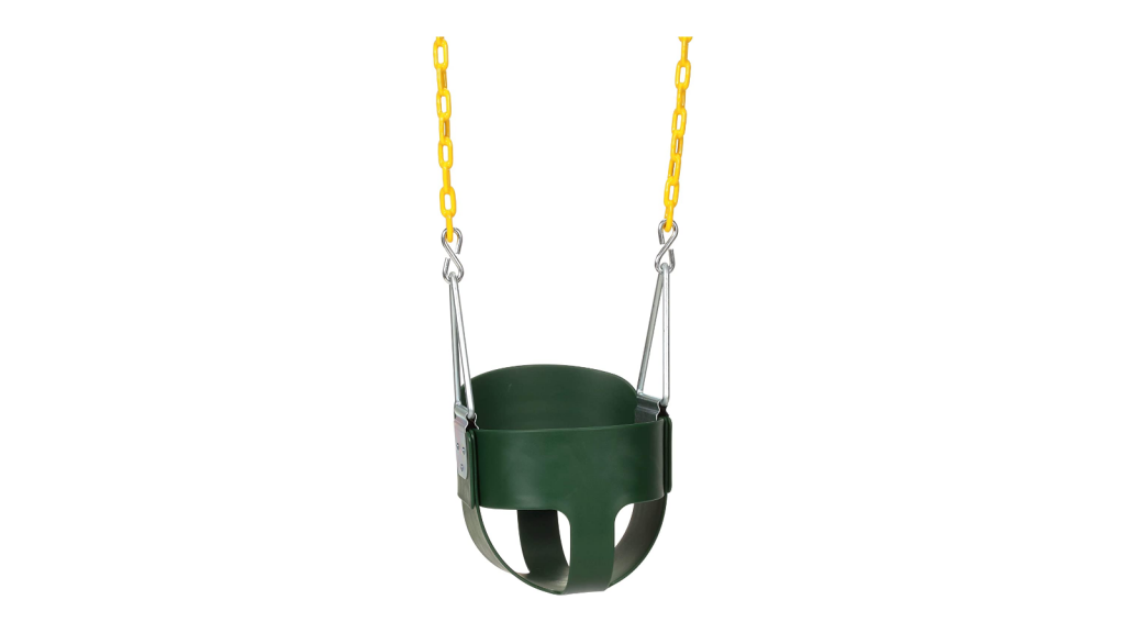 A green outdoor baby swing with adjustable 66-inch chains