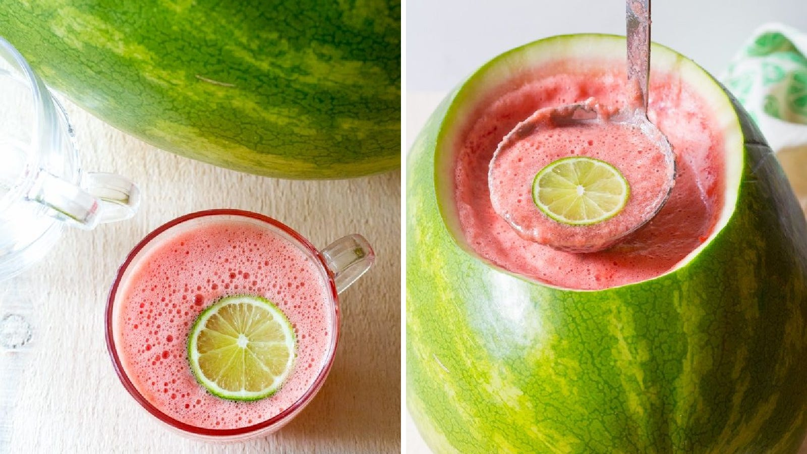 Two images of watermelon rum punch. The left image is a glass of rum punch and the right image is of rum punch being ladled out of a watermelon.