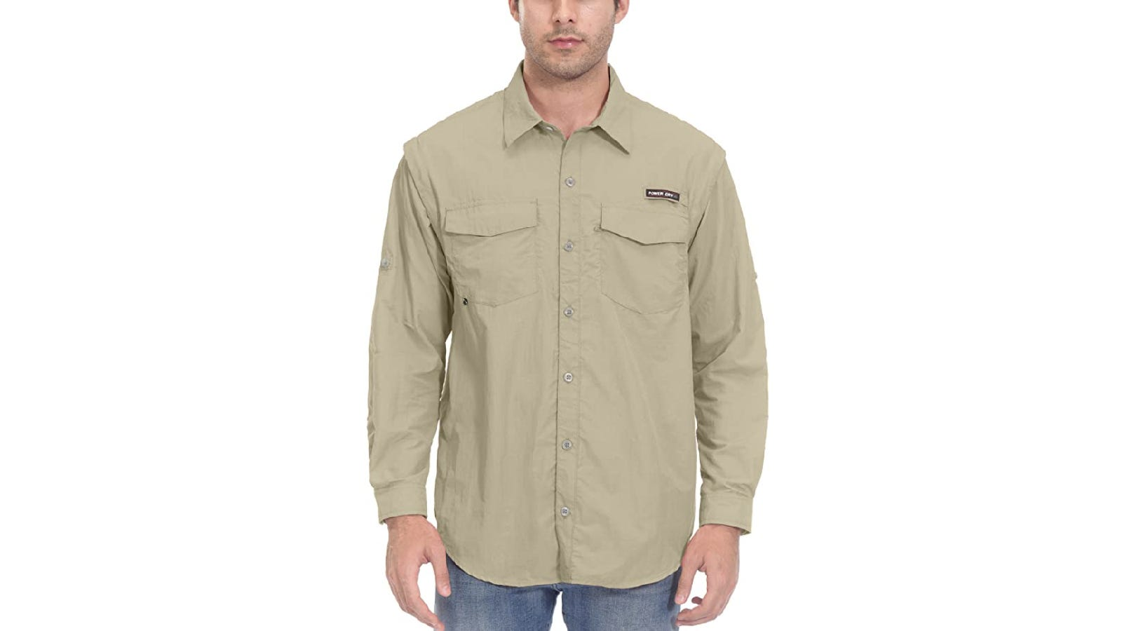 A model at centerframe wears a pale khaki, long-sleeve button-down that's crafted from nylon and features two chest pockets.