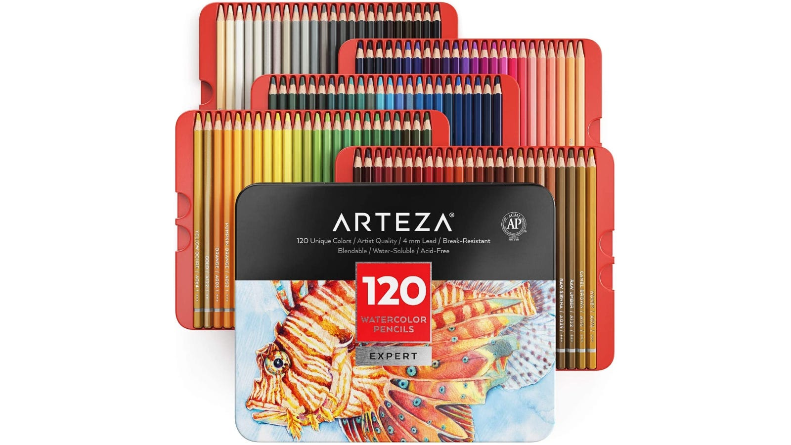 ARTEZA box lid in front with five trays of watercolor pencils stacked behind
