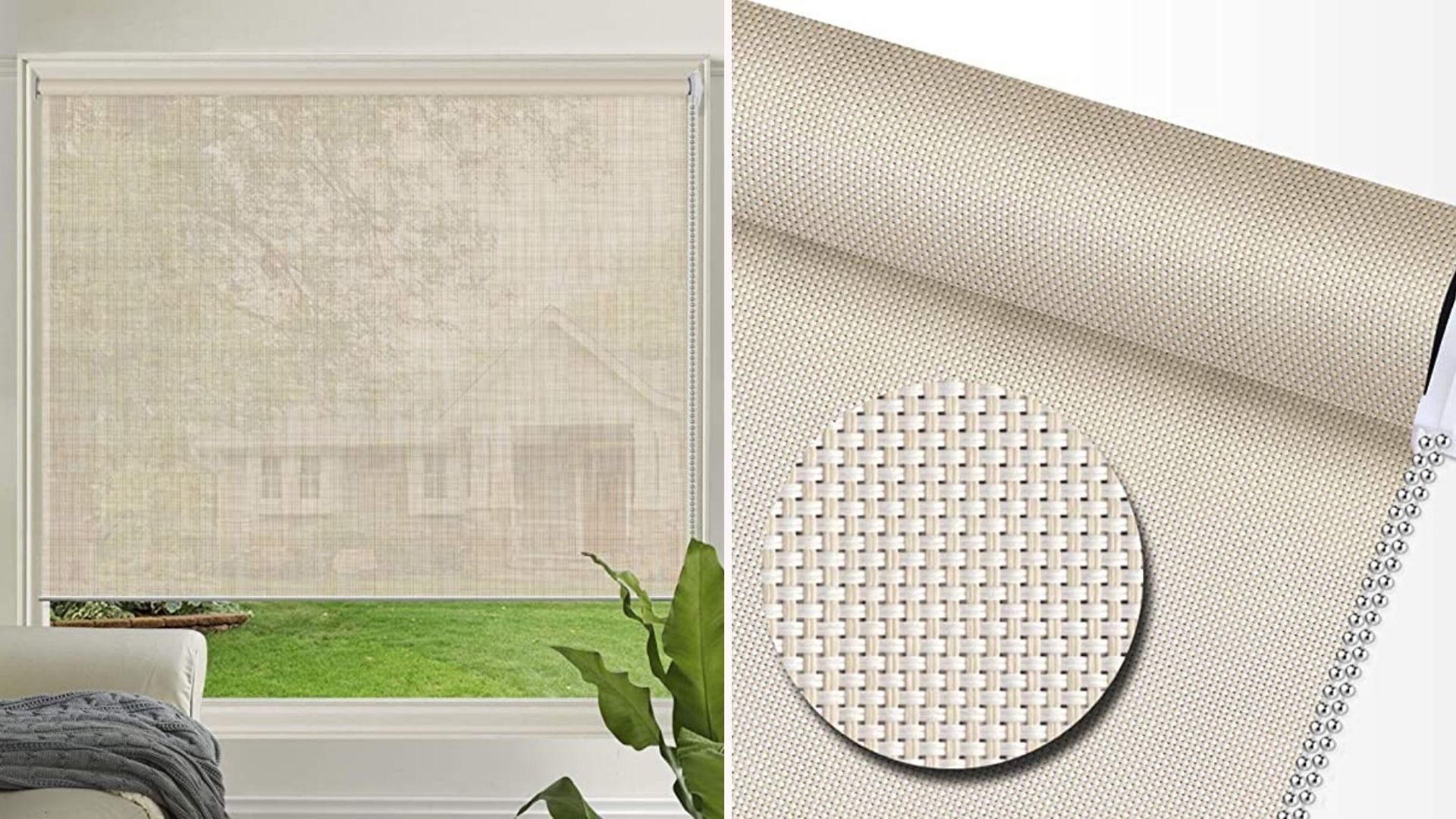 Слева солнечная тень, блокирующая свет в гостиной, а справа - крупный план текстуры тени.