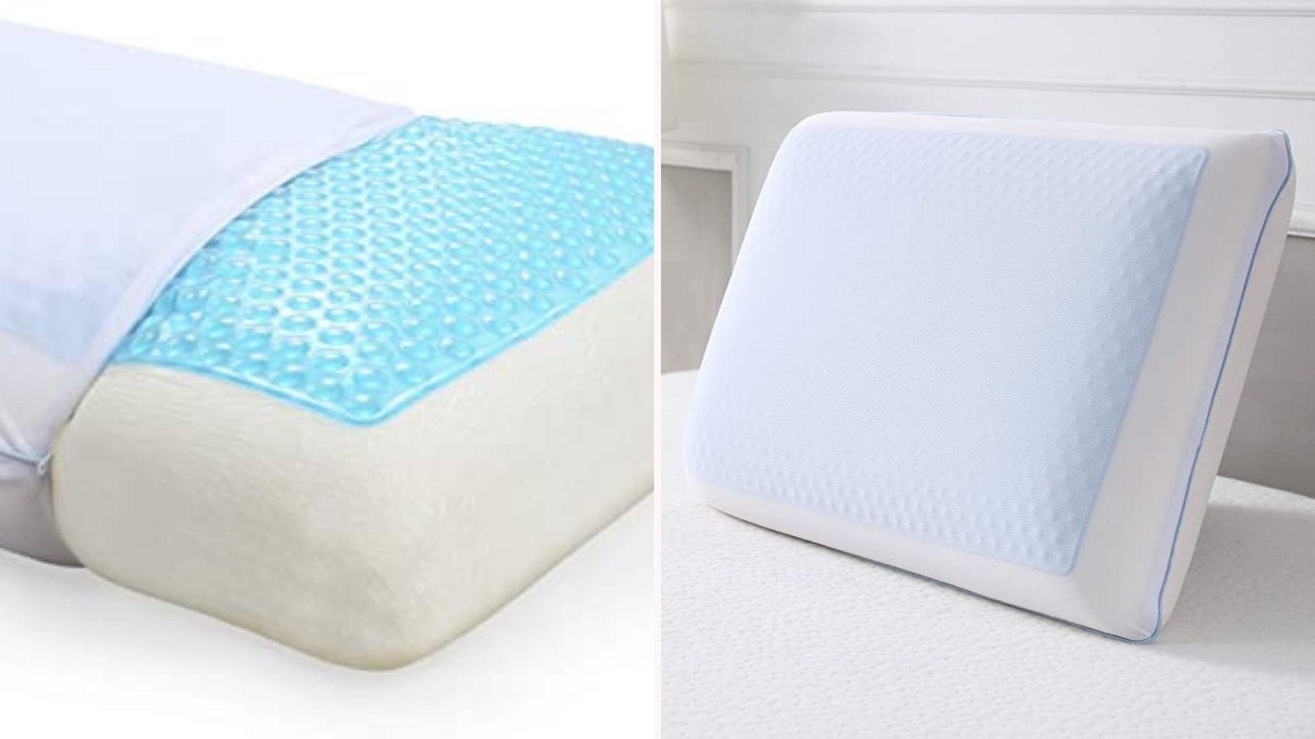 Слева крупный план текстуры гелевой подушки, а справа гелевая подушка в футляре на кровати.