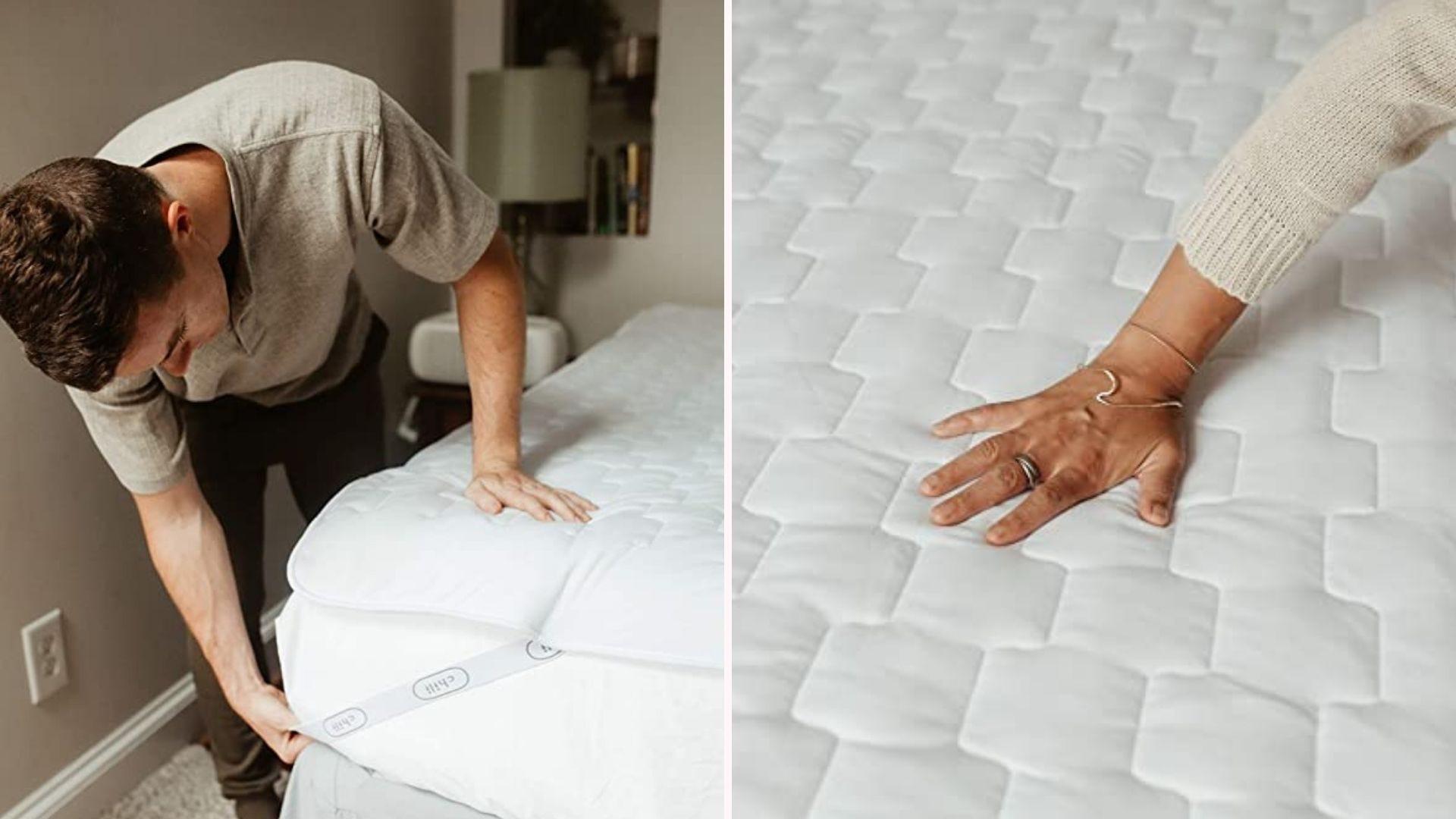 Слева мужчина кладет Chili Pad на кровать, а справа рука ощущает охлаждающий эффект наматрасника.