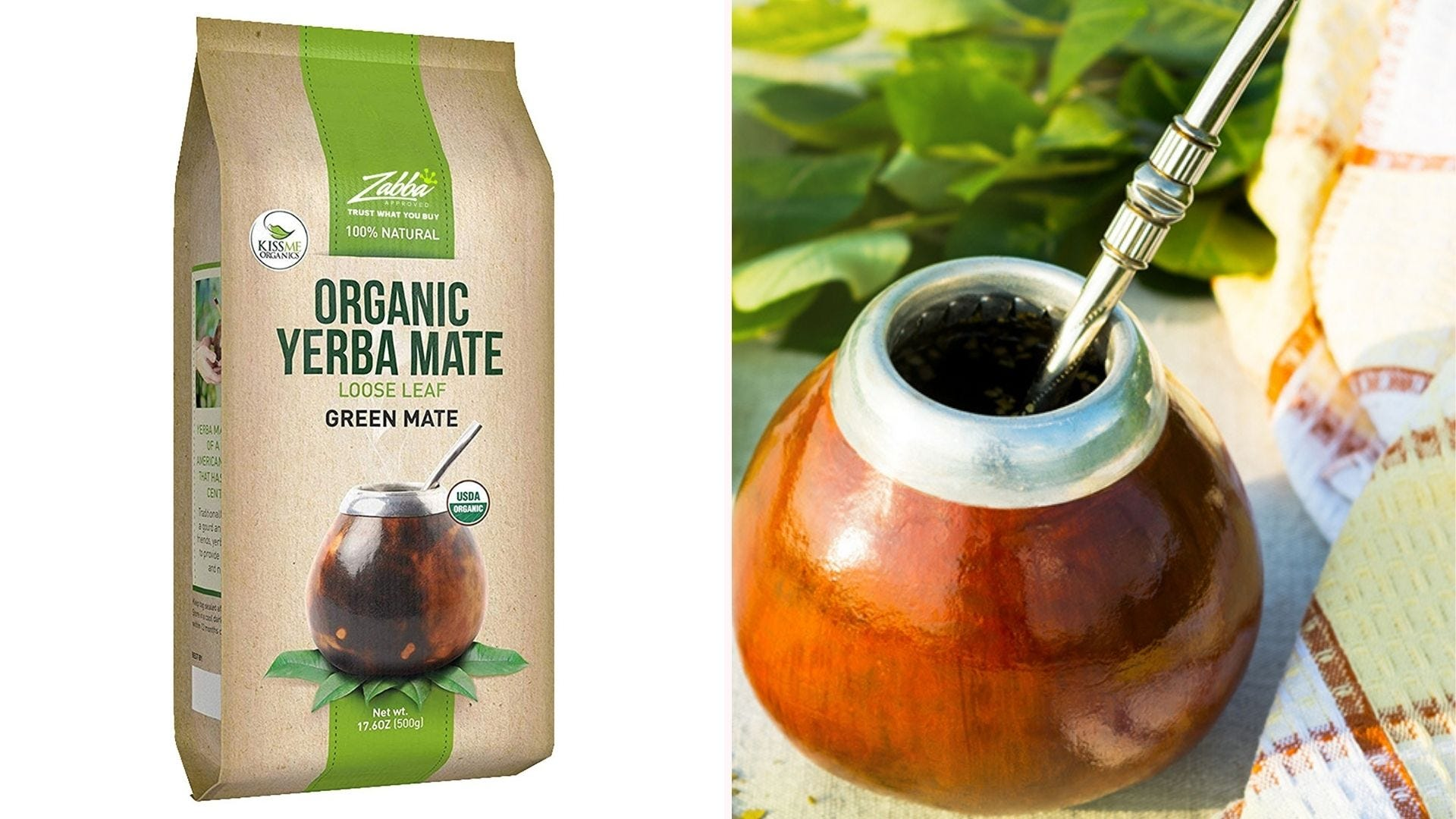 A package of organic yerba mate with a traditional drinking vessel.