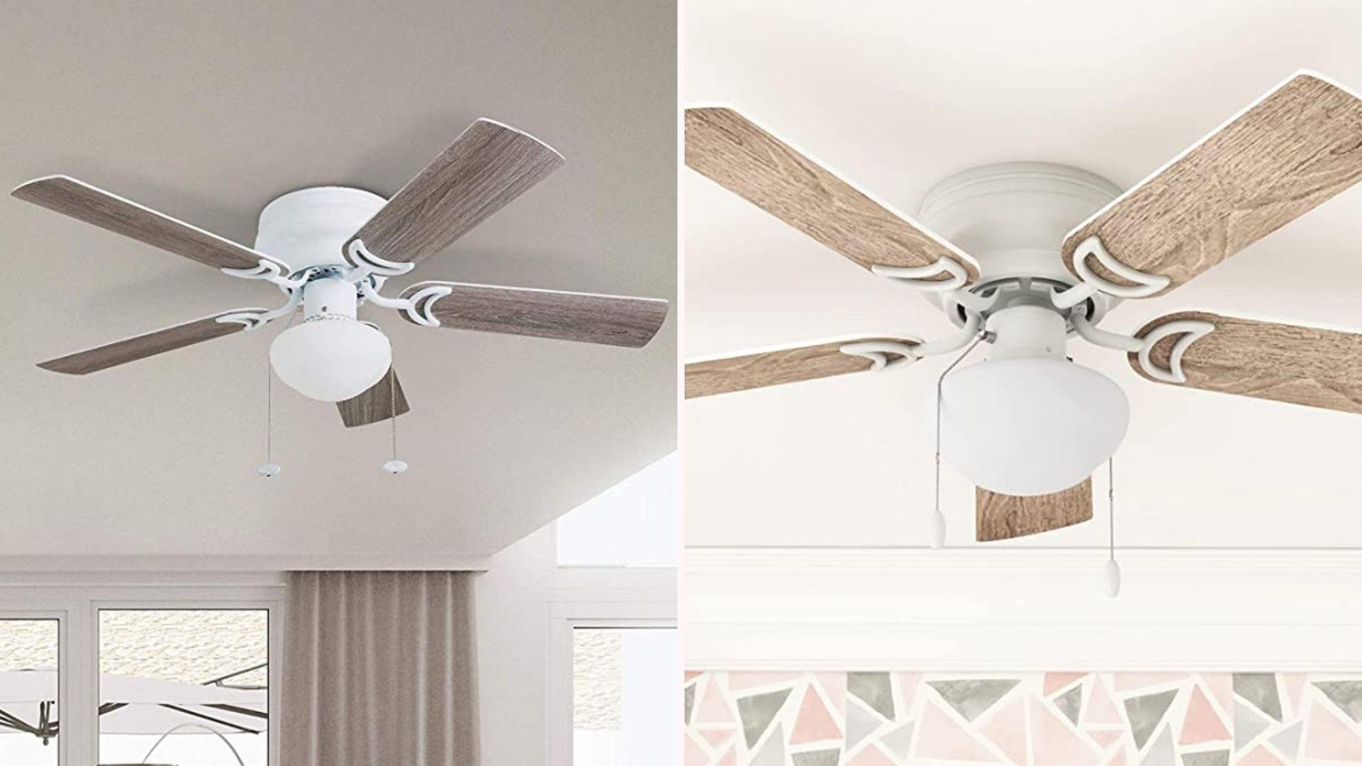 Слева потолочный вентилятор с лопастями из сарая, висящий в доме, а справа тот же вентилятор другого цвета.