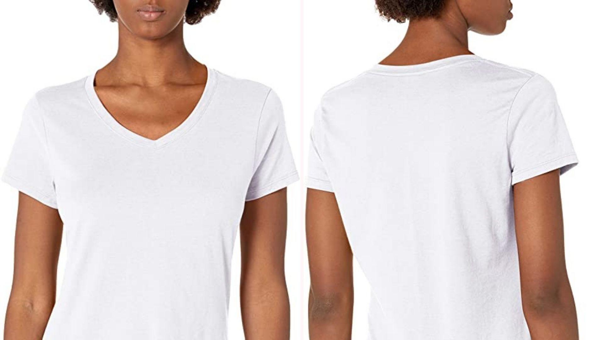 Слева вид спереди женщины в белой футболке, а справа такой же вид сзади.