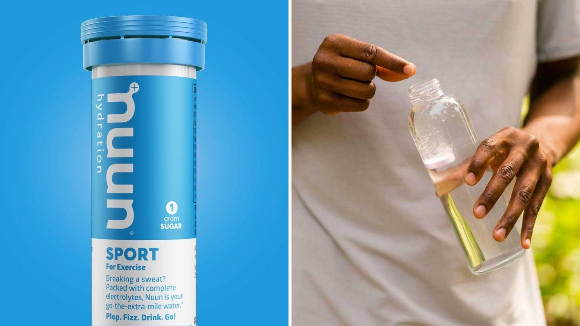 Слева - контейнер Nuun Sport на синем фоне, а справа - человек, роняющий таблетку электролита Nuun в свою бутылку с водой.