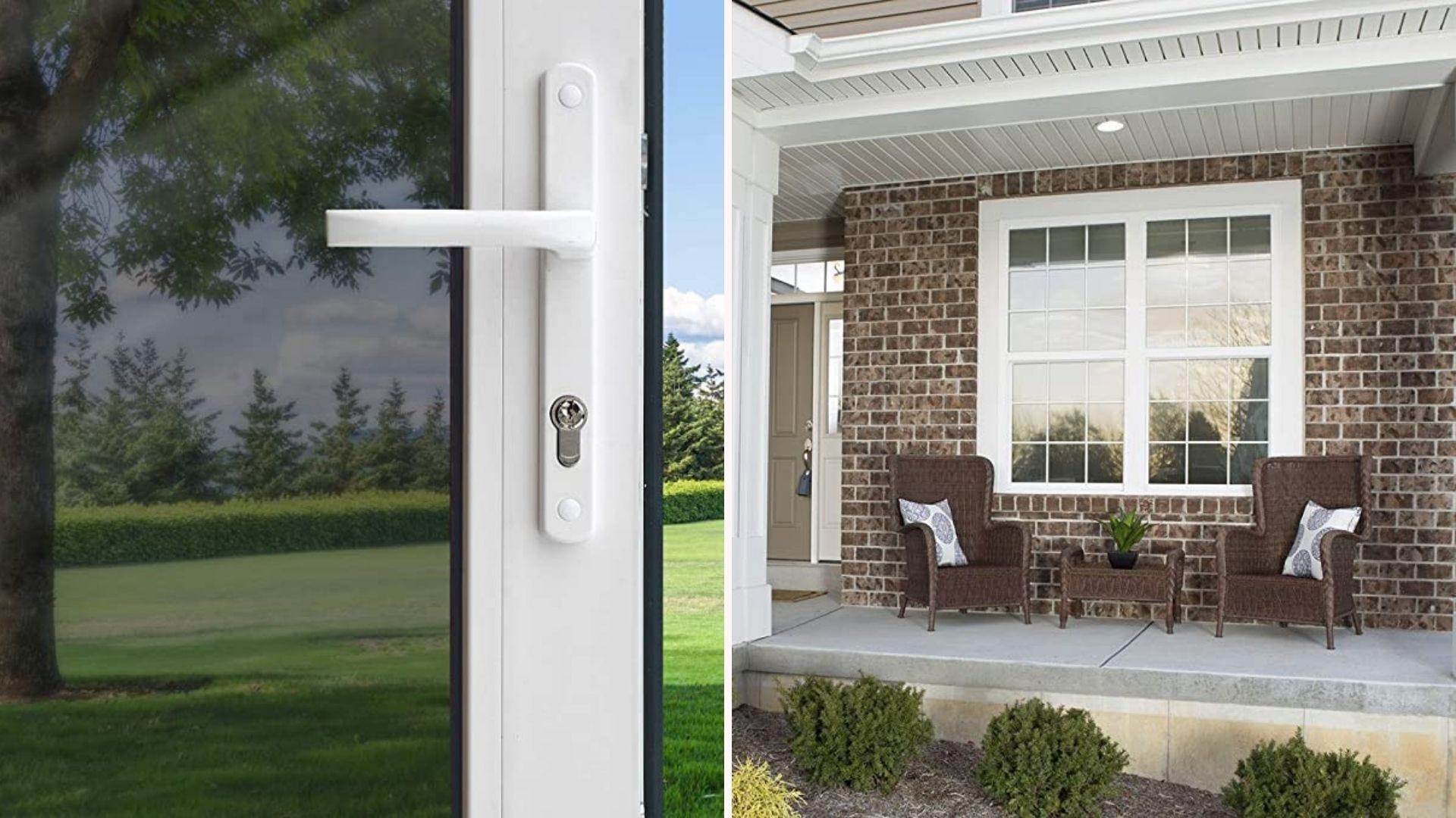 Слева вид снаружи через оконную пленку, а справа оконная пленка, обеспечивающая уединение снаружи.