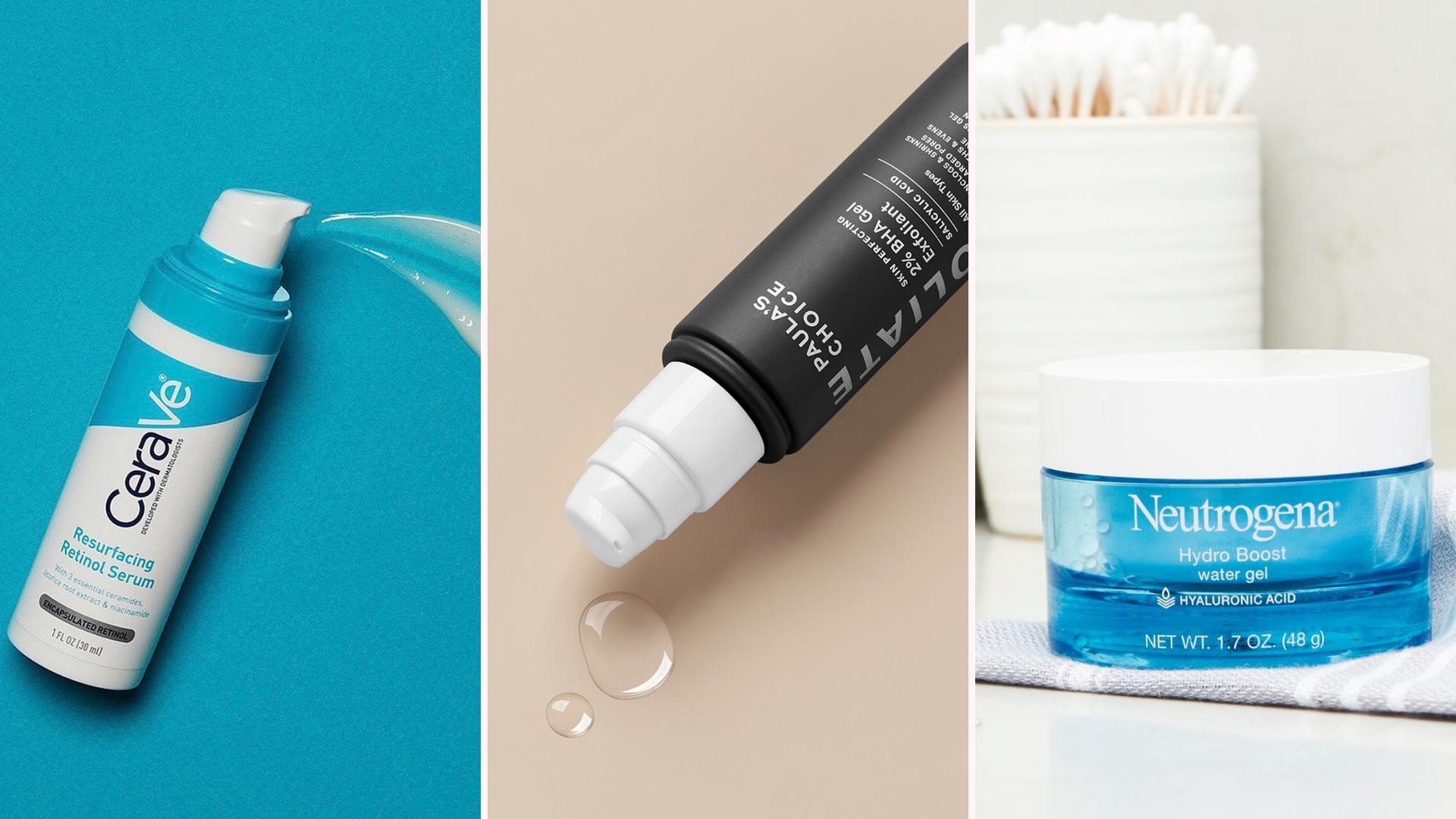 A tri-fold collage of three product shots of Cerave's Resurfacing Retinol Serum, Paula's Choice's 2% BHA Gel Exfoliant, and Neutrogena's Hydro Boost Water Gel