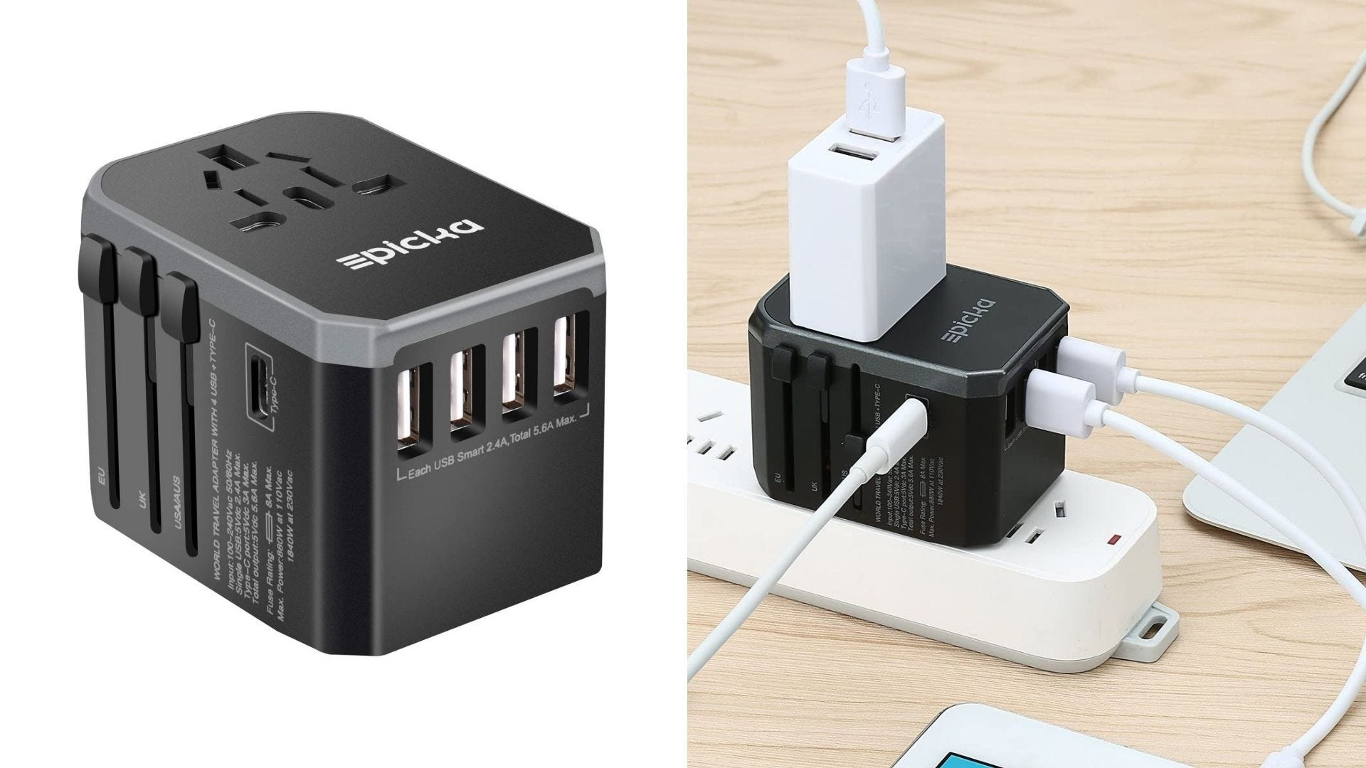 A black universal charger sits on a white background and has several electronics plugged into it