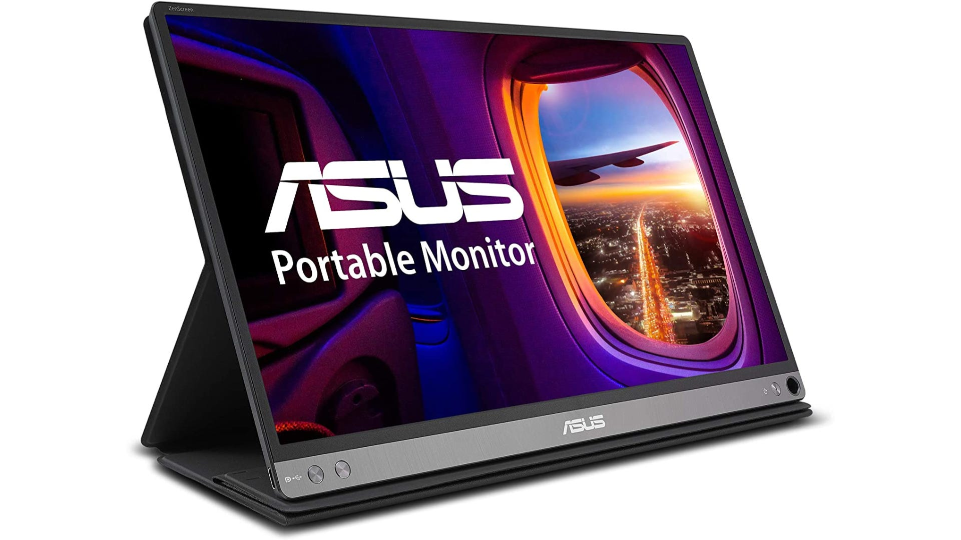 ASUS portable monitor standing up and showing high-quality image definition