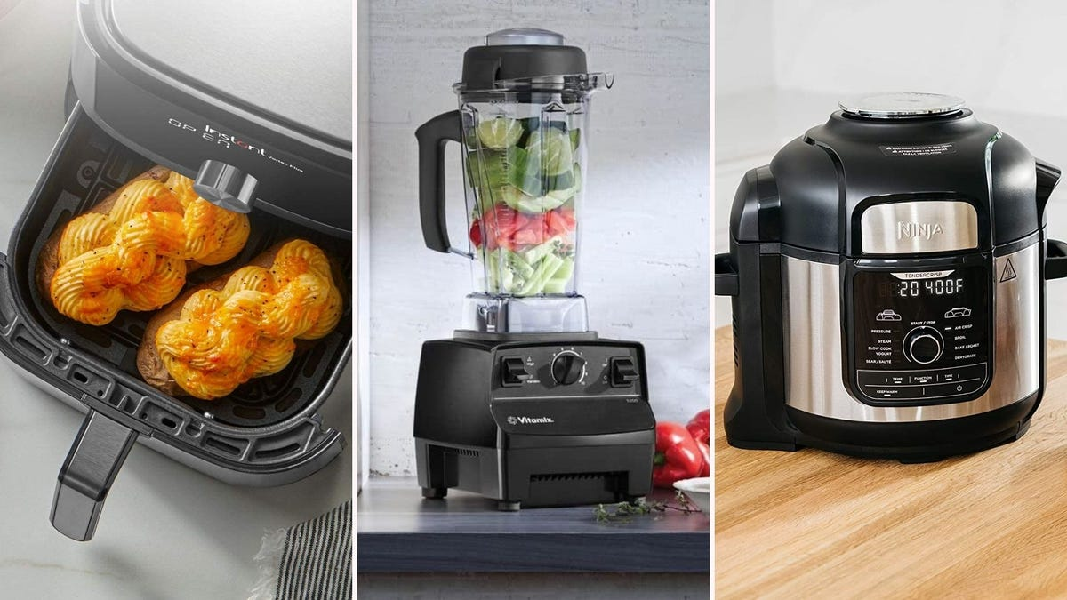 Three images featuring appliances from the article below. The left image features an Instant Pot air fryer, the middle image features a Vitamix blender, and the right image features a Ninja pressure cooker.