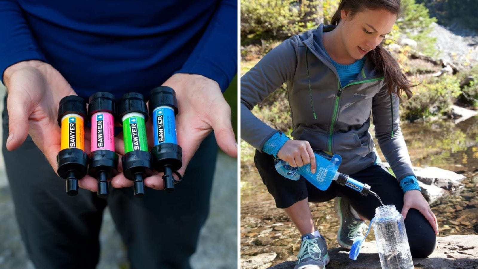 Two images displaying the sawyer products water filtration system. The left image displays all four colors available, and the right image shows a hiker filtering water into her water bottle.