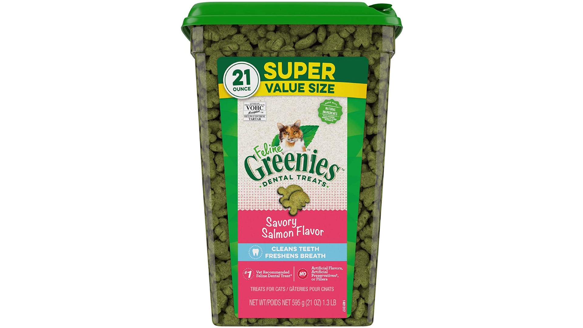 a large super value size container of feline greenies treats in savory salmon flavor