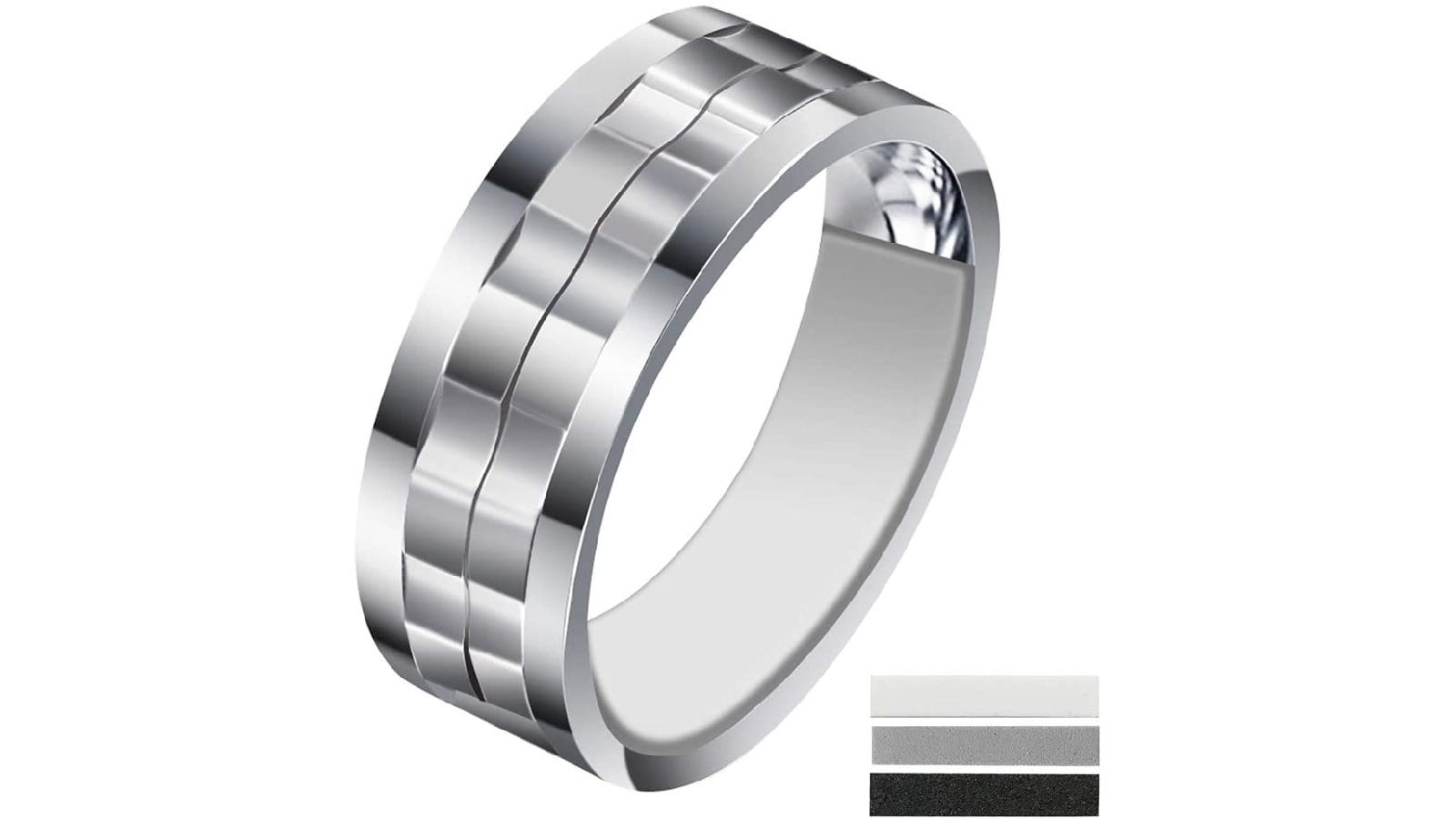 A silver ring band with an transparent ring adjuster.