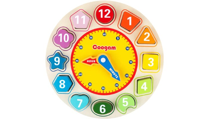 rainbow wooden clock with different-shaped blocks for each hour