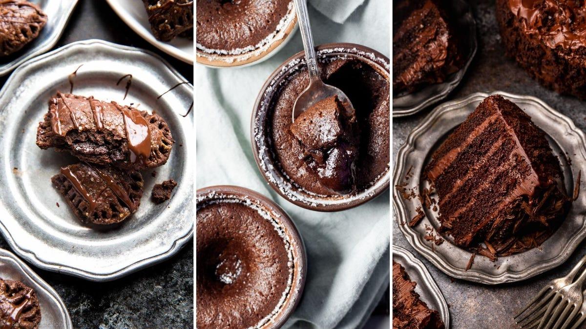 A heart-shaped chocolate pie, a chocolate lava cake, and a layered chocolate cake