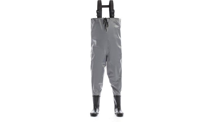 A pair of grey nylon fishing waders with black boots, adjustable shoulder straps, and a top draw cord across the chest.