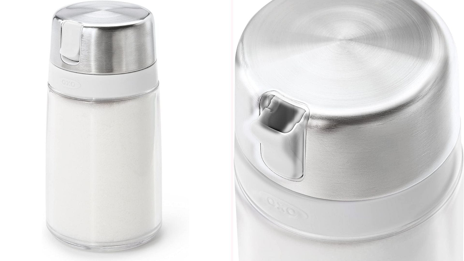 a small glass sugar dispenser with a stainless steel lid and a closeup of the pouring spout