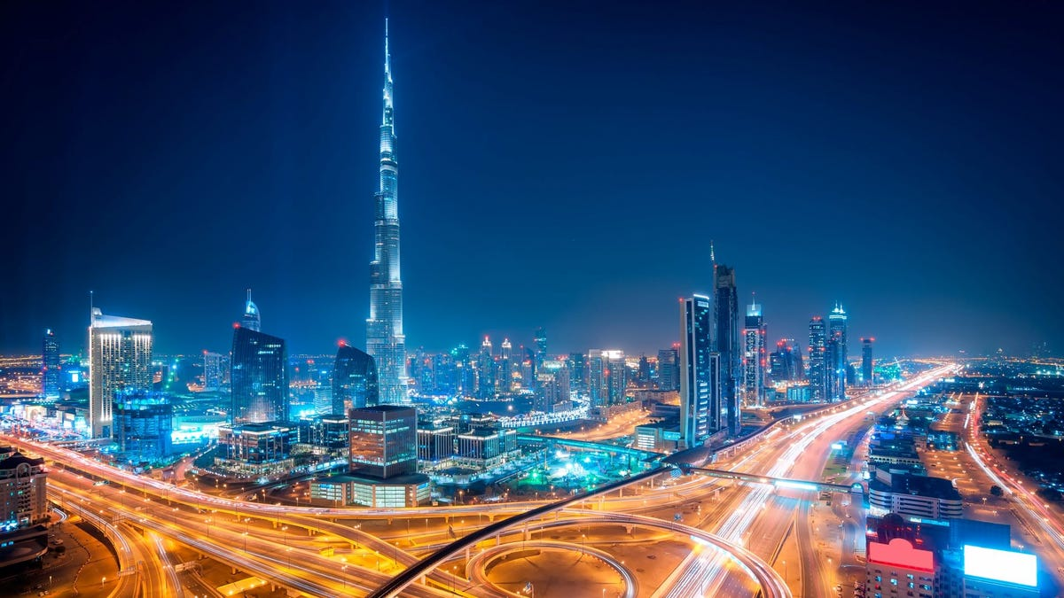 Downtown Dubai, United Arab Emirates, at night.