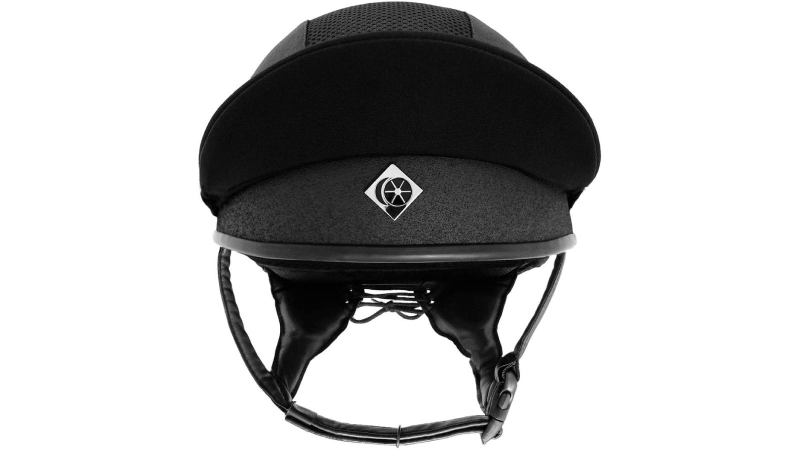 A horse riding helmet with a high visor.