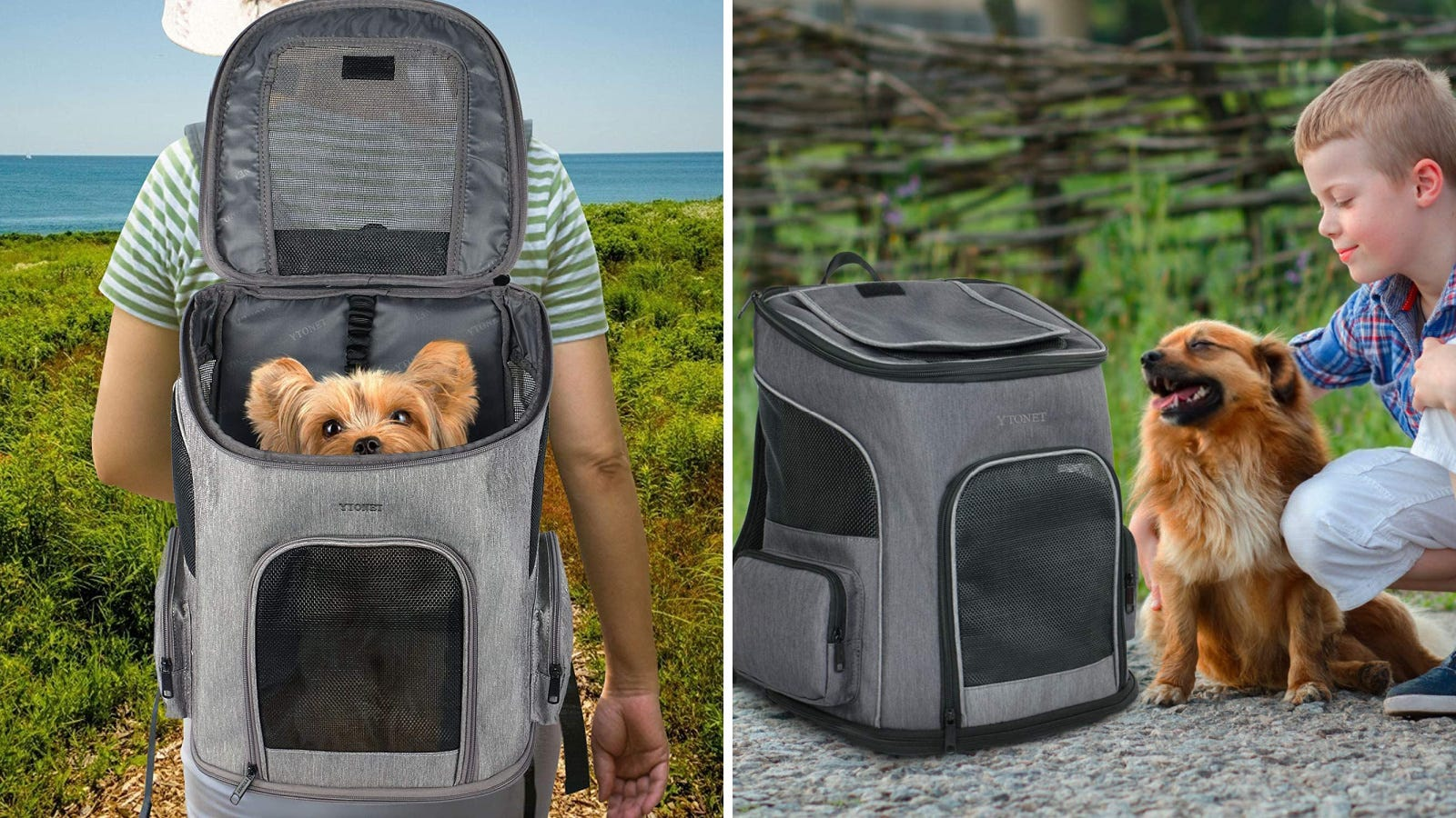 Two images featuring the Ytonet dog carrier backpack. The left image features a hiker carrying their dog by the beach, and the right image features a young child petting their dog by the ytonet carrier.