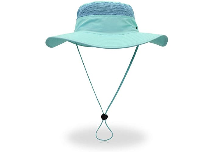 A teal sun hat with a long adjustable lanyard.